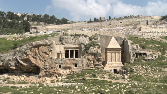 ws pan tomb of zechariah and tomb of benei hezir at mount of olives / jerusalem, israel - jerusalem old city stock videos and b-roll footage