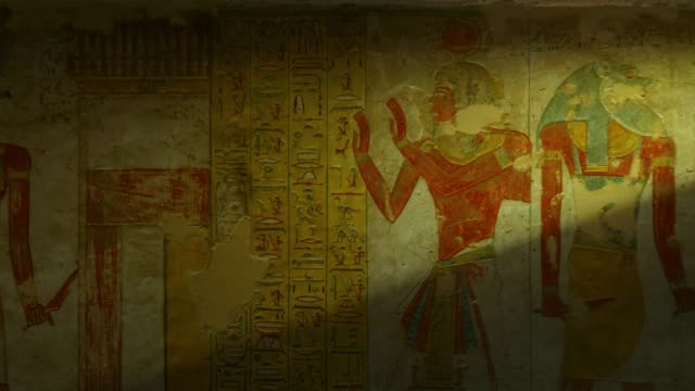 tomb with old wall paintings in ancient egypt. valley of the kings in luxor. - north africa stock videos & royalty-free footage
