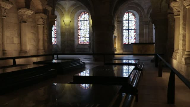 tombs of french sovereigns in the crypt at the basilica of saint-denis in the outskirts of paris on july 5, 2020 in saint denis, france. the church... - crypt stock videos & royalty-free footage