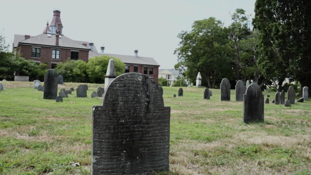 tombstones in cemetery, salem, massachusetts, usa - salem massachusetts stock videos & royalty-free footage