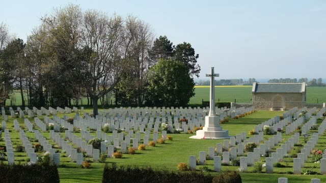 tombstones stand at the commonwealth war graves commission's benysurmer canadian war cemetery on april 30 2019 near reviers france june 6 will mark... - 75th anniversary stock videos & royalty-free footage