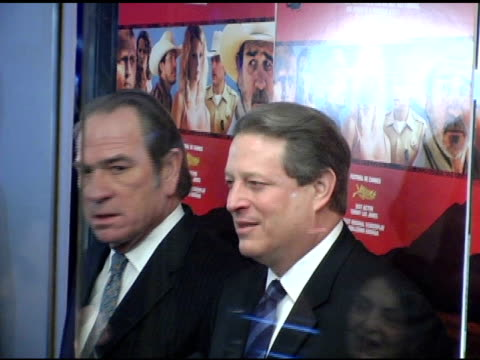 tomme lee jones and al gore at the 'three burials of melquiades estrada' new york premiere at the paris theater in new york new york on december 12... - the three burials of melquiades estrada stock videos and b-roll footage