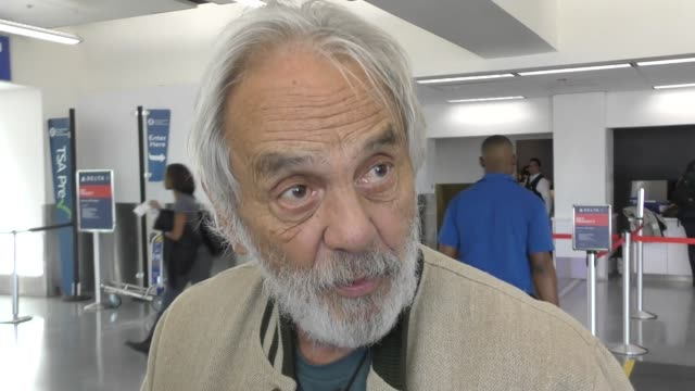 INTERVIEW Tommy Chong talks about doing Yoga while high while departing at LAX Airport in Los Angeles in Celebrity Sightings in Los Angeles