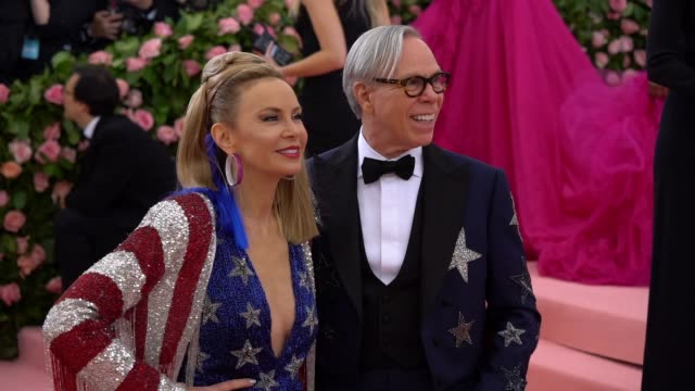 tommy hilfiger and dee hilfiger at the 2019 met gala celebrating camp notes on fashion arrivals at metropolitan museum of art on may 06 2019 in new... - met gala 2019 stock videos and b-roll footage