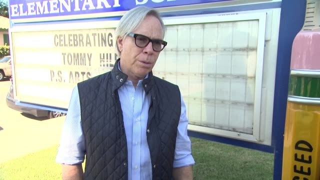 interview tommy hilfiger on the event at tommy hilfiger visits tommy hilfiger/ps arts education program at walgrove elementary school on 10/15/13 in... - tommy hilfiger designer label stock videos and b-roll footage