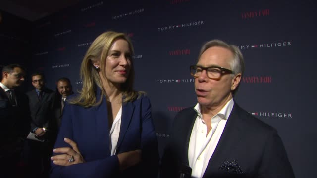 interview tommy hilfiger on what were celebrating how he decided to work with zooey on this collection why zooey is a great representation for the... - tommy hilfiger designer label stock videos and b-roll footage