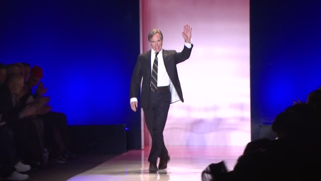 tommy hilfiger walks the runway after his show at the tent bryant park at the mercedesbenz fashion week fall 2009 tommy hilfiger runway at new york ny - tommy hilfiger designer label stock videos and b-roll footage