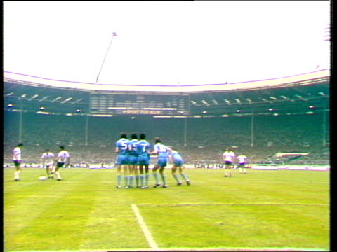 tommy hutchinson deflects glenn hoddle freekick into own net manchester city vs tottenham hotspur 1981 fa cup final wembley london - final round stock videos & royalty-free footage