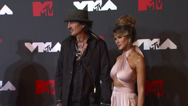 tommy lee and brittany furlanarrive at the 2021 mtv video music awards at barclays center on september 12, 2021 in the brooklyn borough of new york... - mtv video music awards stock videos & royalty-free footage