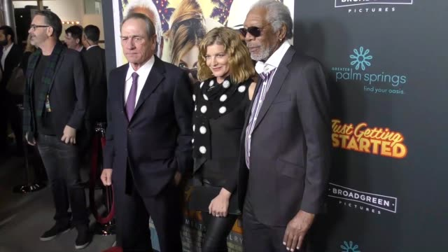 tommy lee jones rene russo morgan freeman at the premiere of broad green pictures' 'just getting started' on december 07 2017 in hollywood california - morgan freeman stock videos & royalty-free footage