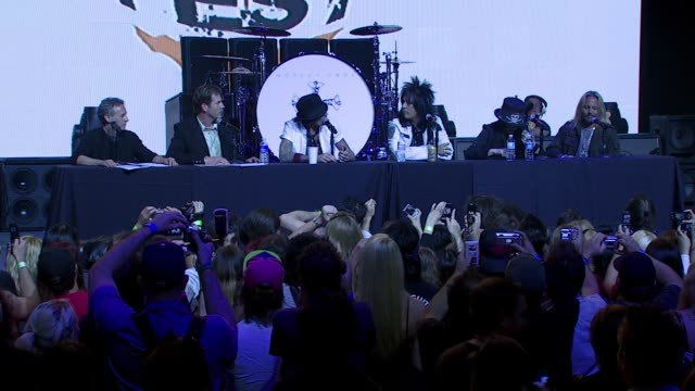 tommy lee on how he's looking forward to the concert tour and wants it to be like ozzfest at the motley crue press conference at the avalon hollywood... - ozzfest stock videos & royalty-free footage