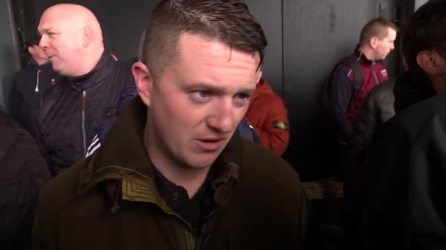 tommy robinson interview at pegida uk demonstration in birmingham; england: west midlands: birmingham: ext tommy robinson interview sot - on pegida /... - ナイトイン点の映像素材/bロール