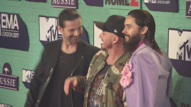 tomo milicevic shannon leto jared leto thirty seconds to mars at mtv ema awards at the sse arena wembley on november 12 2017 in london england - wembley arena stock videos & royalty-free footage