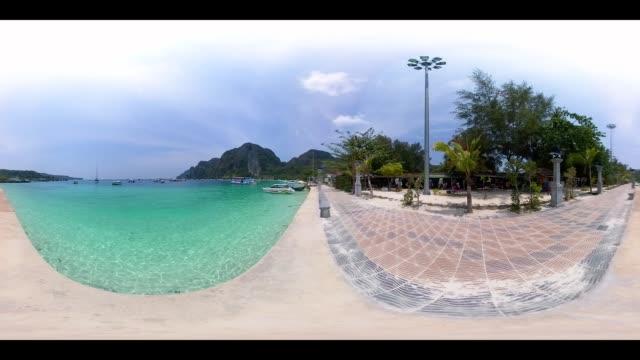 vídeos y material grabado en eventos de stock de 360vr 4k ton sai bay at phi phi island - thailand