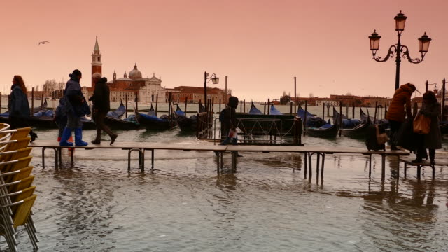 4K Toned view of flood on St. Marc's square in Venice, Italy