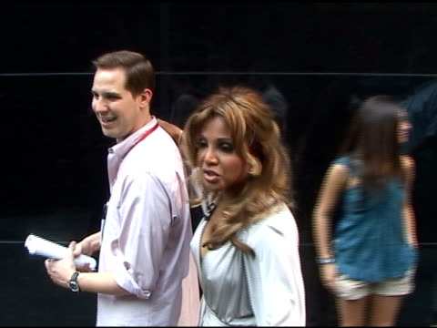 toni braxton signs autographs for fans before departing 'good morning america' in new york 06/08/11 - autographing stock videos and b-roll footage