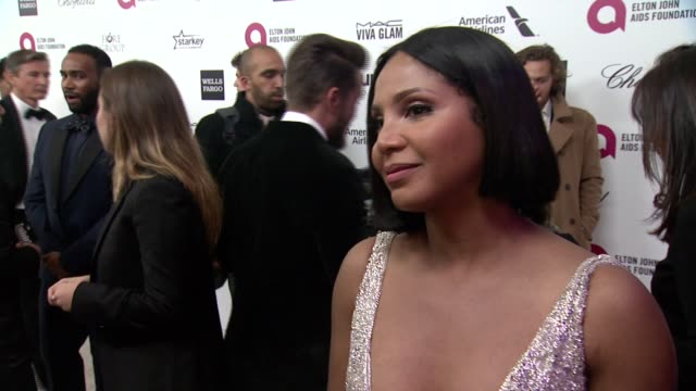 toni braxton what brings her out, talks about elton's commitment to the ejaf and her thoughts on the oscar ceremony at 23rd annual elton john aids... - oscar party stock videos & royalty-free footage