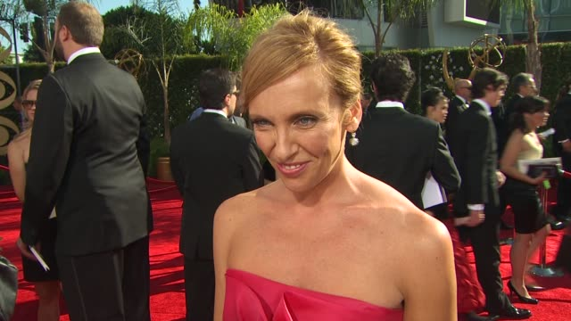 toni collette on her nomination, experiencing the emmys, how long it took to get ready, her dress. at the 61st annual primetime emmy awards -... - annual primetime emmy awards stock videos & royalty-free footage