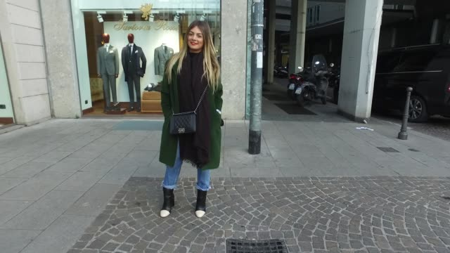 Tonia Savanelli is wearing a Dolce Gabbana coat Mango Jeans Chanel bag and Zara shoes on January 15 2017 in Milan Italy