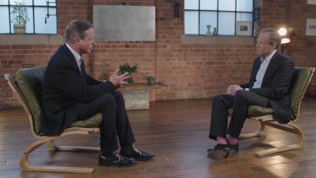stockvideo's en b-roll-footage met the cameron interview; excerpt 'itv tonight: the cameron interview' england: london: david cameron interview sot - re euroscepticism / decision to... - itv