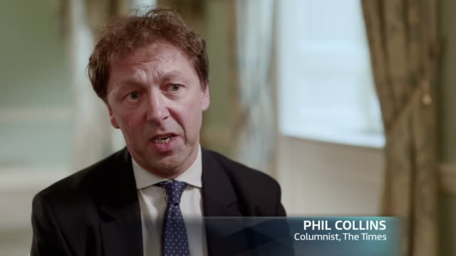 the leader interviews: theresa may; excerpt 'itv tonight: the leader interviews: theresa may' england: london: int phil collins interview sot - phil collins stock videos & royalty-free footage