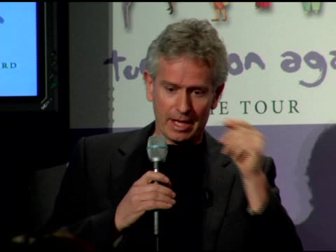 tony banks answers questions about the free show in rome and phil collins on getting back into playing drums at the announcement of genesis 'turn it... - phil collins stock videos & royalty-free footage