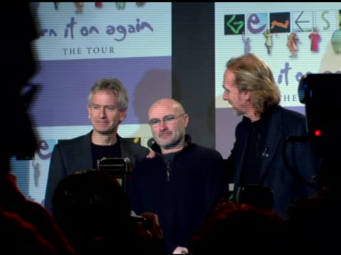 tony banks phil collins and mike rutherford of genesis at the announcement of genesis 'turn it on again' tour dates at providence in new york new... - phil collins stock videos & royalty-free footage