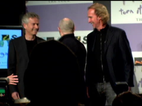 tony banks, phil collins and mike rutherford of genesis at the announcement of genesis 'turn it on again' tour dates at providence in new york, new... - mike rutherford stock videos & royalty-free footage