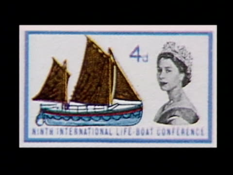 tony benn diaries; commemorative postage stamp 4d with queen's head cms stamps designed with royal ciphers instead of head tilt down more - postage stamp stock videos & royalty-free footage