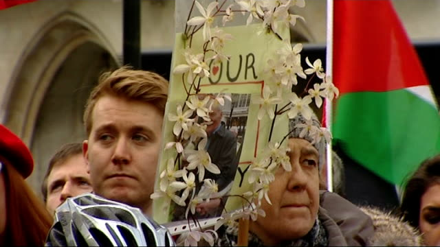 tony benn funeral; peter tatchell arriving for funeral service with others arthur scargill talking to rodney bickerstaffe outside church gerry adams... - rory bremner stock videos & royalty-free footage