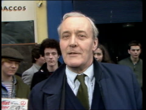 tony benn supports michael foot after bermondsey byelection scotland edinburgh ext tony benn mp interview sot i voted for michael foot / michael foot... - nachwahl stock-videos und b-roll-filmmaterial