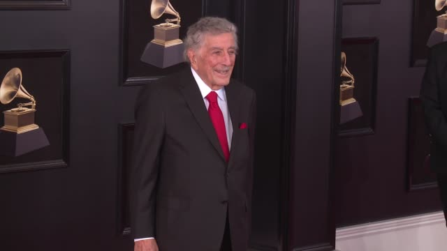 stockvideo's en b-roll-footage met tony bennett at 60th grammy awards & celebration party at madison square garden on january 28, 2018 in new york city. - grammy awards