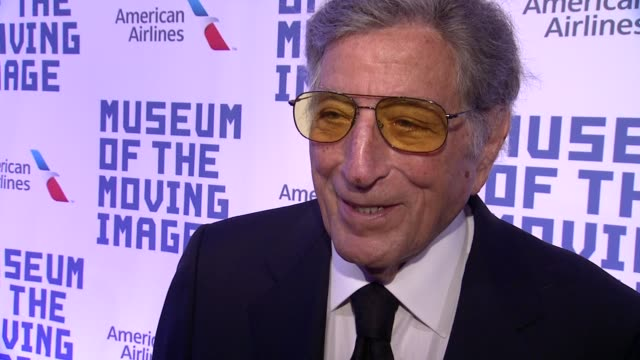 vídeos de stock, filmes e b-roll de interview tony bennett on tonight's event his admiration for kevin his favorite role of kevin the type of actor he is and his upcoming collaboration... - tony bennett