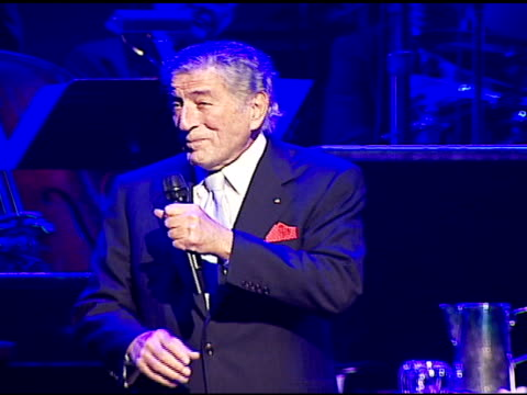 tony bennett performing at the singers and songs celebration of tony bennetts 80th birthday by raising funds for newman�s hole in the wall camps at... - tony bennett singer stock videos and b-roll footage