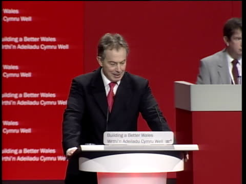 tony blair addresses annual party conference of the welsh labour party in llandudno; tony blair speech sot - this is the powerful platform we put... - social justice concept 個影片檔及 b 捲影像