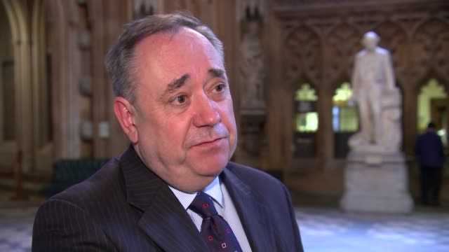 stockvideo's en b-roll-footage met tony blair admits he 'underestimated' challenges of iraq war; england: london: houses of parliament: int alex salmond mp interview sot - this is a... - satire