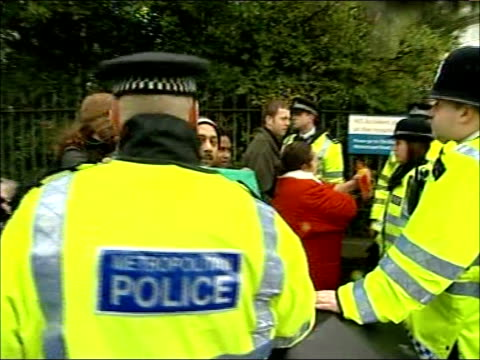 tony blair and patricia hewitt visit london chest hospital england london bethnal green london chest hospital ext police confronting demonstrators... - bethnal green stock videos & royalty-free footage