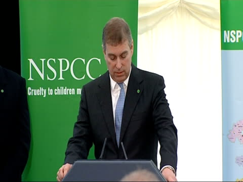 Tony Blair and Prince Andrew visit NSPCC 'Full Stop' campaign event Prince Andrew approaches podium Tony Blair applauding Prince Andrew SOT it was...