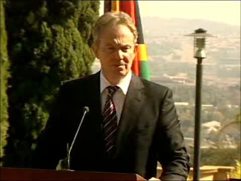 tony blair and thabo mbeki press conference; blair and mbeki waiting for questions / question asked by unidentified journalist sot - prime minister,... - main course stock videos & royalty-free footage