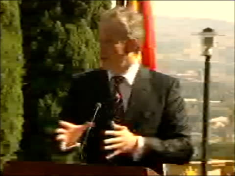 tony blair and thabo mbeki press conference; tony blair speaking at pressconference sot - thank you very much mr president and thank you for the... - addition key stock videos & royalty-free footage