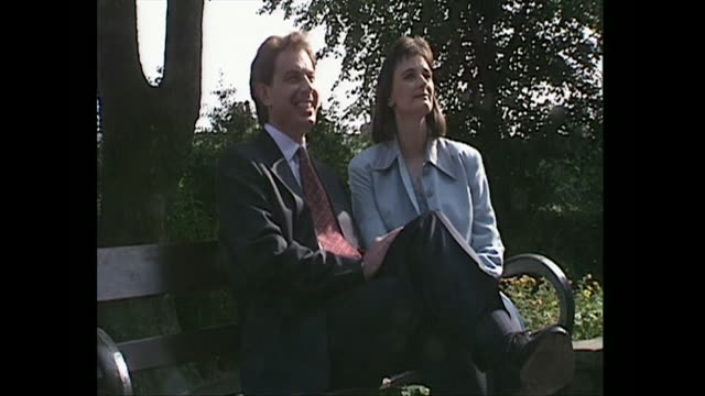 tony blair and wife cherie photocall in park on the day he is announced the new labour leader, 1994 - 1994 stock videos & royalty-free footage