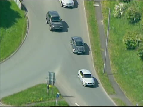 blair arrival in sedgefield england county durham sedgefield ext air view of motorcade of prime minister tony blair mp along road / motorcade... - tony blair stock-videos und b-roll-filmmaterial