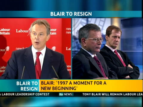 ITV News Special PAB 1140 1242 1208 Tony Blair speech contd SOT 1997 was a moment for new beginning the sweeping away of all the detritus of the...