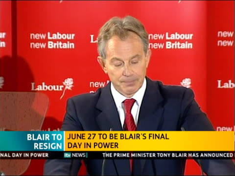 itv news special pab 1140 1242 trimdon tony blair speech recap sot hand on heart i did what i thought was right for our country / may have been wrong... - トニー ブレア点の映像素材/bロール