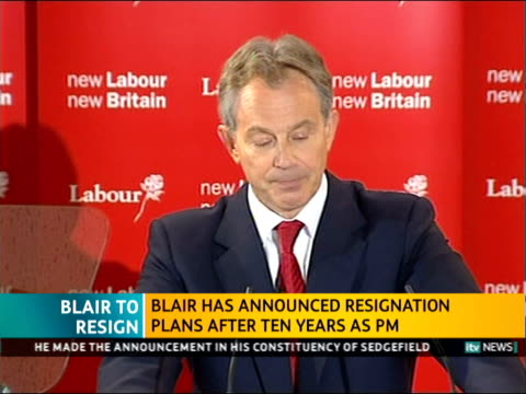 itv news special pab 1242 1300 trimdon labour club tony blair mp live speech sot hand on heart i did what i thought was right [applause] / i may have... - 2007 stock videos & royalty-free footage