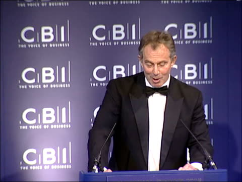 Tony Blair annual CBI dinner speech ENGLAND London INT Prime Minister Tony Blair MP up to podium / Tony Blair MP speech SOT Mr President my Lords...
