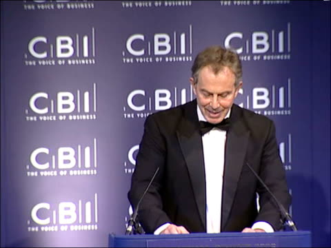 tony blair annual cbi dinner speech; england: london: int tony blair mp speech sot - recently i have met with your cbi members on two issues of... - cut video transition stock videos & royalty-free footage