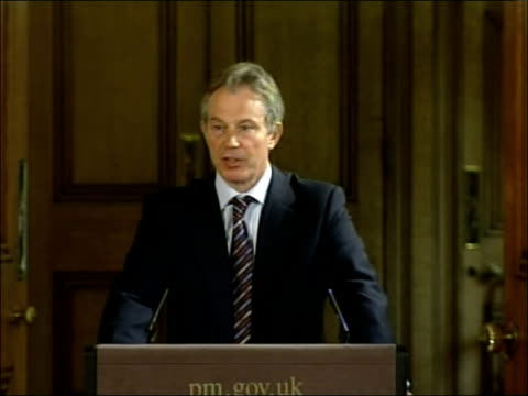tony blair april 2007 monthly press briefing over these past ten years as you know we have been prepared to intervene and take military action where... - connection in process stock-videos und b-roll-filmmaterial