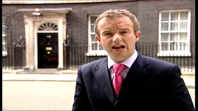 tony blair comments on british troop numbers / handover itn london downing street ext i/c - downing street stock videos and b-roll footage