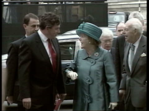 tony blair denies iraq accusations bbc london westminster abbey gordon brown mp and lady thatcher arriving at service to commemorate 50th anniversary... - coronation stock videos and b-roll footage